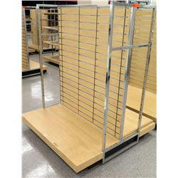 Slatwall Panel Wood & Chrome Adjustable Display Shelf Rack
