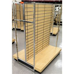 "Slatwall Panel Wood & Chrome Adjustable Display Shelf Rack 50.5""L x 39""D x 62.5""H"