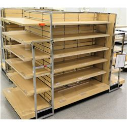 "Slatwall Panel Wood & Chrome Adjustable Display Shelf Rack 91""L x 38.5""D x 62.5""H"