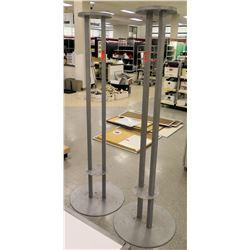 Qty 2 Tall Round Base Metal