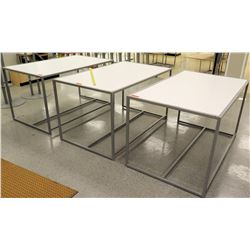 "Qty 3 White & Metal Rectangle Display Tables 60""L x 36""W x 34""H"