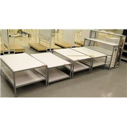Qty 4 White & Metal Rectangle Display Tables & Tall Shelf Display