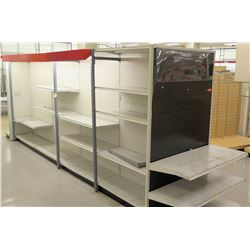 Customizable White Pegboard & Metal Long Shelving Display Rack