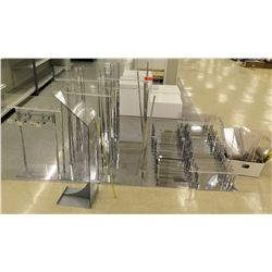 Multiple Misc Clear Acrylic Plexiglass Sign Display w/ Chrome Stands