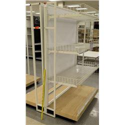 White & Metal Display w/ Wood Base & Metal Shelves