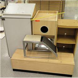 Qty 4 Misc Shelving Display Units w/ Shoe Fitting Stool