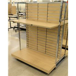 "Slatwall Panel Wood & Chrome Adjustable Display Shelf Rack 50.5""L x 51""D x 62.5""H"