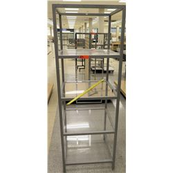 "Metal 4 Tier Square Shelf Unit w/ Clear Shelving 24""L x 24""W x 69.5""H"