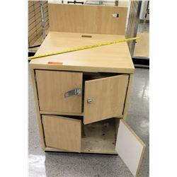 Wood 2 Tier Cabinet w/ 4 Doors (1 Locking)