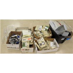 Qty 5 Boxes Phone Systems, Powerstrips, Ornaments, etc