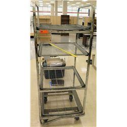 Chrome 4 Tier Rolling Shelf Unit w/ Metal Wire Shelves on Wheels