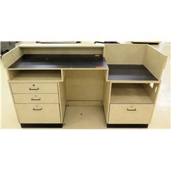 "Customer Service Center Desk w/ File Drawers & Geometric Design 72""L x 23.5""D x 42.5""H"