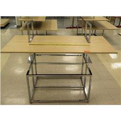 Wood & Chrome Store Table Display Rack