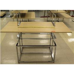"Wood & Chrome Store Table Display Rack 62""L x 30""D x 36""H"