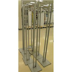 "Qty 9 Tall Metal Display Racks, all approx. 73""H"