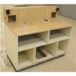"Wooden Shelf w/ Headboard & 5 Cubicles Below 48""L x 25""D x 41""H"