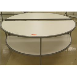 "Qty 2 Round Half Tables w/ Shelf Below 72""L x 33.5""H each"