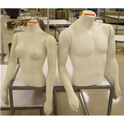 Qty 2 Top Half Torso Mannequins - 1 Male / 1 Female