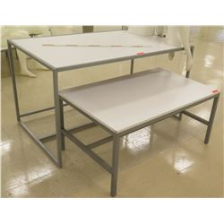 "Qty 2 White & Metal Rectangle Nesting Tables, 48""L x 30""W x 22.5""H; 60""L x 36""W x 34""H"