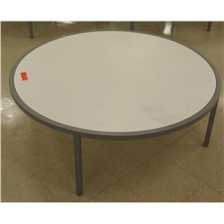 "Qty 3 Round White & Metal Display Tables 44"" Diameter, 15""H each"