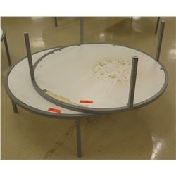 "Qty 2 Round White & Metal Display Tables 44"" Diameter, 15""H each"