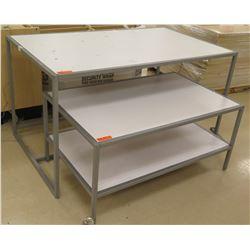 "Qty 2 White & Metal Rectangle Nesting Tables w/ 1 Bottom Shelf 48""L x 30""W x 22.5""H; 60""L x 36""W x 3"