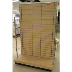 "Slatwall Panel Wood & Chrome Adjustable Display Shelf Rack 50.5""L x 39""D x 78""H"