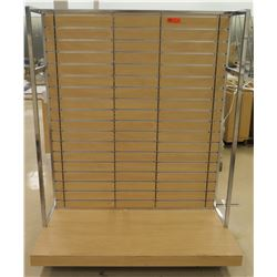 "Slatwall Panel Wood & Chrome Adjustable Display Shelf Rack 50.5""L x 50.5""D x 62""H"