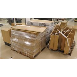 "Qty 4 Pallets Misc Wood & Pressboard Shelf Panels, Larger pieces: 48""L; Smaller pieces: 46""L"