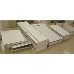 "Qty 4 Stacks Assorted Size White Wood Shelf Panels, Longer pieces: 48""L; Smaller pieces: 30""L, 29""L"