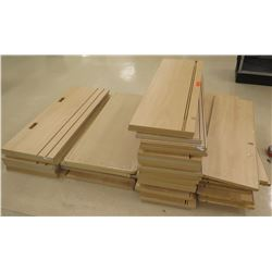 "Qty 4 Stacks Assorted Size Wood Shelf Panels 48""L, 46""L"