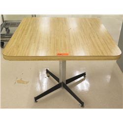 "Square Wood Laminate Table w/ Metal Stand 36""L x 36""W x 29""H"