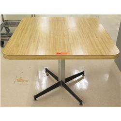 "Square Wood Laminate Table w/ Metal Stand 36""L x 36""W x 29""H"