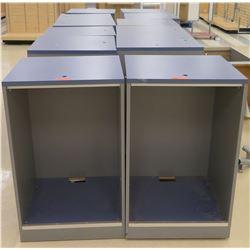 "Qty 12 Hollow Square Tall Blue & Gray Boxes 26""L x 26""W x 41.5""H"