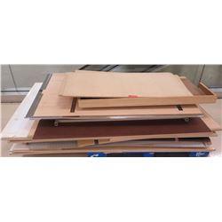 """Pallet Misc Wood & Pressboard Pieces, Misc. Sizes; 76""""L, 71""""L, 62""""L, 50.5""""L, etc."""
