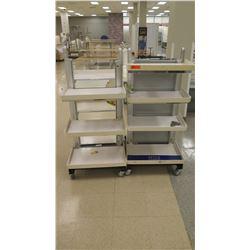 "Qty 2 Rolling Metal Shelves w/ Plastic Edged Trays 24""W x 36""D x 54""H"