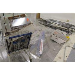 Multiple Misc Metal & Plastic Sign Holders, Rails, etc
