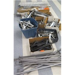 Multiple Boxes Metal & Plastic Rack Parts, Rails, Slatwall Sections