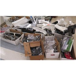 Multiple Boxes Metal & Plastic Hangers, Rails, Parts, etc