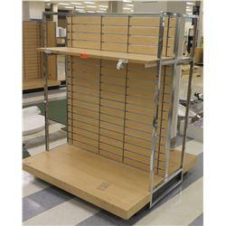 "Slatwall Panel Wood & Chrome Adjustable Display Shelf Rack 50.5""L x 51""D x 62.5""H"