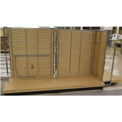 "Multiple Slatwall Panel Wood & Chrome Adjustable Display Shelf Racks 128""L x 50.5""D x 62.5""H"