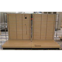 "Multiple Slatwall Panel Wood & Chrome Adjustable Display Shelf Racks 101.5""L x 57""D x 62.5""H"