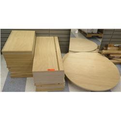 Qty 2 Stacks Assorted Size Wood Shelf Panels & Round Table Tops