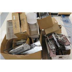 Multiple Boxes Metal Rack Parts, Rails, Connectors, Signs, etc