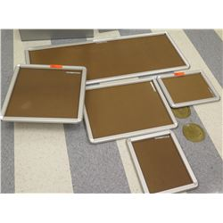Qty 5 Misc Shape Poster Grip Aluminum Framed Cork Boards