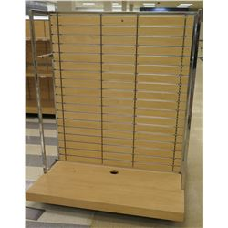 "Slatwall Panel Wood & Chrome Adjustable Display Shelf Racks 50.5""L x 50.5""D x 62""H"