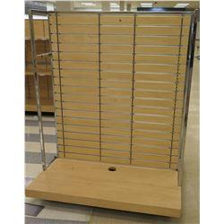 "Slatwall Panel Wood & Chrome Adjustable Display Shelf Racks 50.5""L x 50.5""D x 62""H"