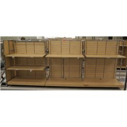 "Multiple Slatwall Panel Wood & Chrome Adjustable Display Shelf Racks 180""L x 50.5""D x 62.5""H"