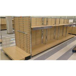 "Multiple Slatwall Panel Wood & Chrome Adjustable Display Shelf Racks 232""L x 50.5""D x 62.5""H"