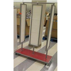 Rolling Mounted Jewelry Slatwall Board & Wire Shelf